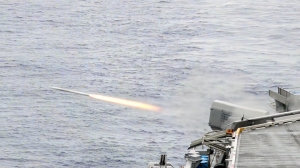 PHILIPPINE SEA (Sept. 19, 2016) The Navy's only forward-deployed aircraft carrier, USS Ronald Reagan (CVN 76), conducts a live-fire exercise of a RIM-116 Rolling Airframe Missile (RAM) weapon system during Exercise Valiant Shield 2016. The RAM system provides surface ships with self-defense against anti-ship missiles and asymmetric air and surface threats. USS Ronald Reagan is participating in Valiant Shield, a biennial, U.S.-only, field-training exercise with a focus on integration of joint training among U.S. forces. This training enables real-world proficiency in sustaining joint forces through detecting, locating, tracking and engaging units at sea, in the air, on land and in cyberspace in response to a range of mission areas. (U.S. Navy photo by Mass Communication Specialist 3rd Class Charles Scudella III/Released)
